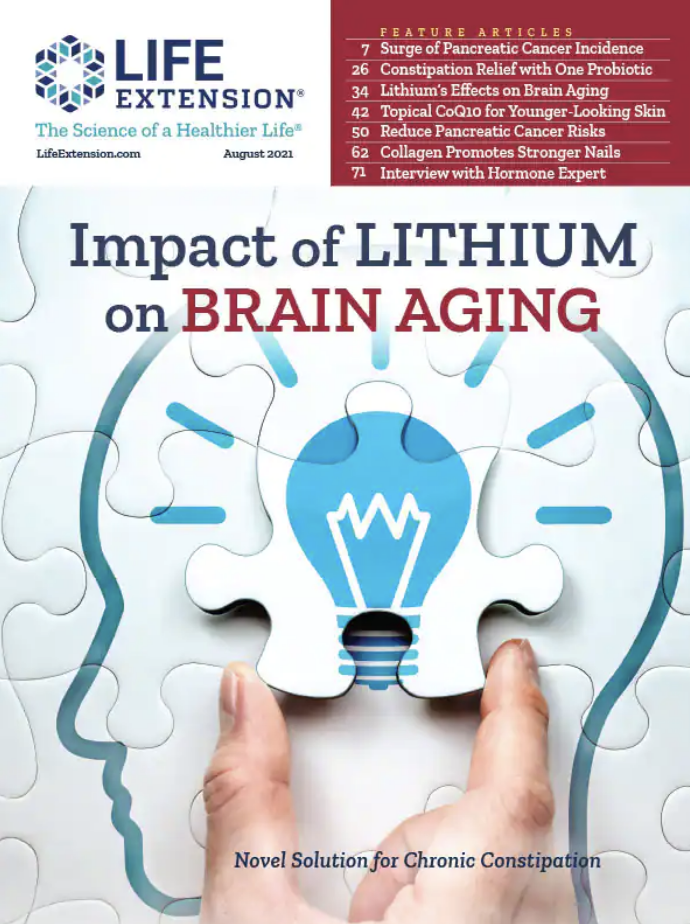 Lithium Extends Lifespan and Slows Brain Aging